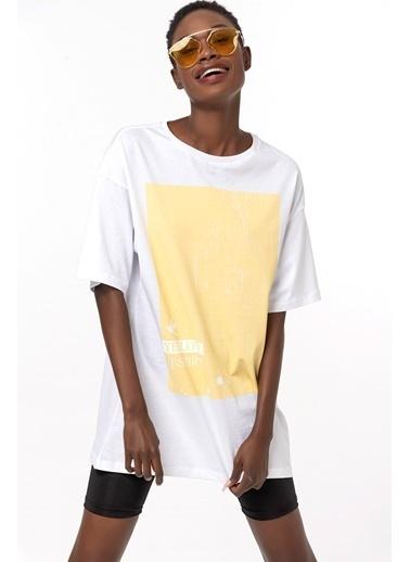 Coral Baskılı Basic T-Shirt Sarı Sarı